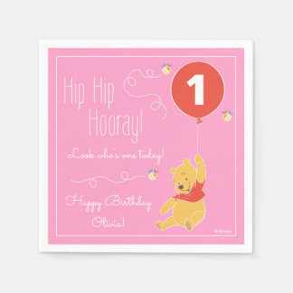 Winnie the Pooh | Baby Girl - First Birthday Paper Napkin