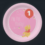 "Winnie the Pooh | Baby Girl - First Birthday Paper Plate<br><div class=""desc"">Celebrate your baby&#39;s first birthday with these super cute Winnie the Pooh plates. These plates features Pooh on a pink background with stripes and a red balloon. Customize by adding your child&#39;s age.</div>"