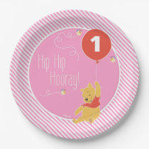Winnie the Pooh | Baby Girl - First Birthday Paper Plate