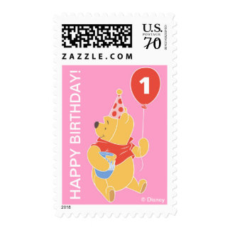 Winnie the Pooh   Baby Girl - First Birthday Postage