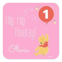Winnie the Pooh | Baby Girl - First Birthday Square Sticker