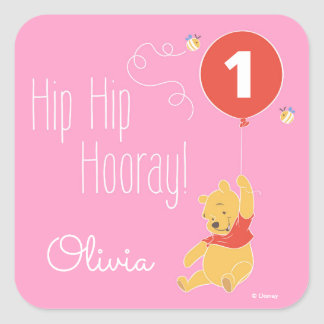 Winnie the Pooh | Baby Girl - First Birthday Square Sticker