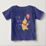 """Winnie the Pooh Balloon   Boy - First Birthday Baby T-Shirt<br><div class=""""desc"""">Personalize this cute Winnie the Pooh First Birthday shirt with your child&#39;s age.</div>"""