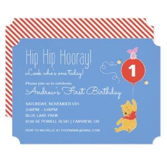Winnie the Pooh Balloon | Boy - First Birthday Invitation