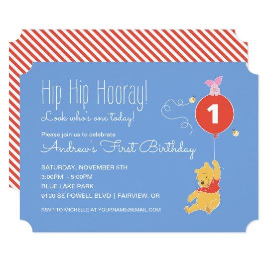Winnie The Pooh Balloon Boy First Birthday Invitation Zazzle