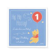 Winnie the Pooh Balloon | Boy - First Birthday Paper Napkin