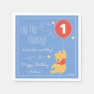 Winnie the Pooh Balloon | Boy - First Birthday Paper Napkins