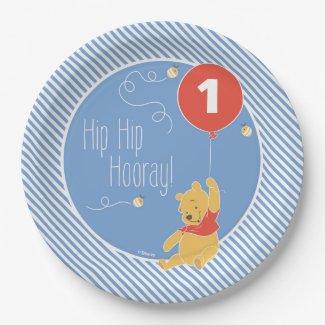 Winnie the Pooh Balloon | Boy - First Birthday Paper Plate