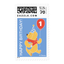 Winnie the Pooh Balloon | Boy - First Birthday Postage