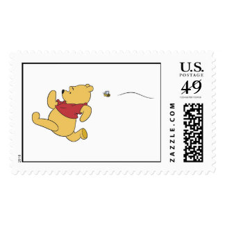 Winnie The Pooh chased by bee Postage Stamp