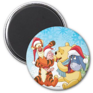 Winnie The Pooh & Friends Holiday 2 Inch Round Magnet