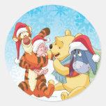 Winnie The Pooh & Friends Holiday Classic Round Sticker