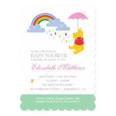Winnie The Pooh | Girl Baby Shower Card at Zazzle