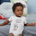 """Winnie the Pooh   Hello World Quote Baby Bodysuit<br><div class=""""desc"""">Disney's Christopher Robin   This graphic features Pooh and the quote,  """"Hello World.""""</div>"""