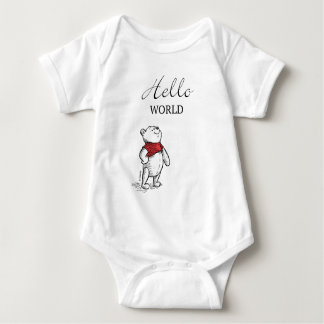 Winnie the Pooh | Hello World Quote Baby Bodysuit