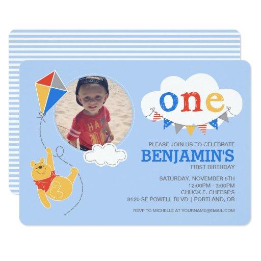 Modern Cute Baby Boy 1st Birthday Invitations Party ideas – Winnie the Pooh Birth Announcement
