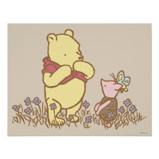 Winnie the Pooh | Pooh and Piglet in Field Classic Poster