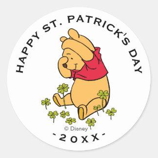 Winnie the Pooh - Shamrock | St. Patrick's Day Classic Round Sticker