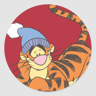 Winnie The Pooh Tigger with hat Round Stickers