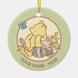 Winnie the Pooh y cochinillo clásicos 1 Adorno Navideño Redondo De Cerámica