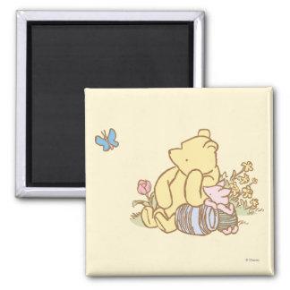 Winnie the Pooh y cochinillo clásicos 1 Imán Cuadrado