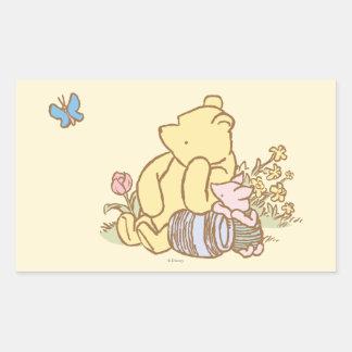 Winnie the Pooh y cochinillo clásicos 1 Pegatina Rectangular