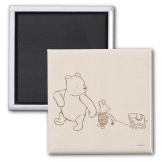Winnie the Pooh y cochinillo clásicos 2 Imán Cuadrado