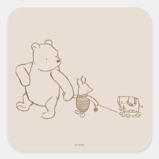 Winnie the Pooh y cochinillo clásicos 2 Pegatina Cuadrada