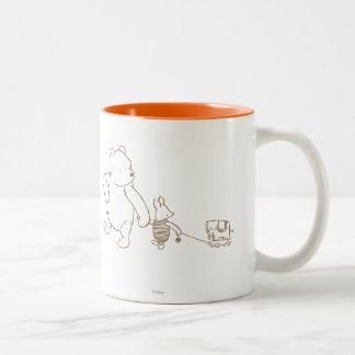 Winnie the Pooh y cochinillo clásicos 2 Taza De Café De Dos Colores