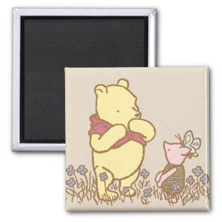 Winnie the Pooh y cochinillo clásicos 3 Imán Cuadrado