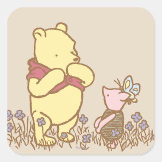 Winnie the Pooh y cochinillo clásicos 3 Pegatina Cuadrada