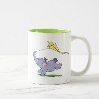 Winnie the Pooh's Heffalump Flying a Kite Two-Tone Coffee Mug