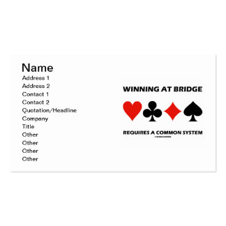 Winning At Bridge Requires A Common System Double-Sided Standard Business Cards (Pack Of 100)