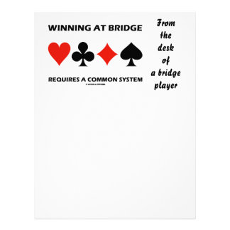 Winning At Bridge Requires A Common System Letterhead