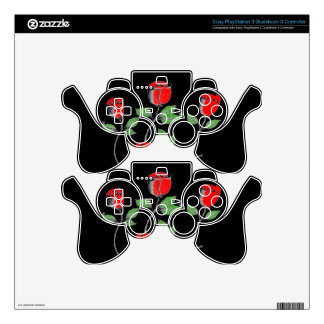 Winning Black and Red PS3 controller Skin