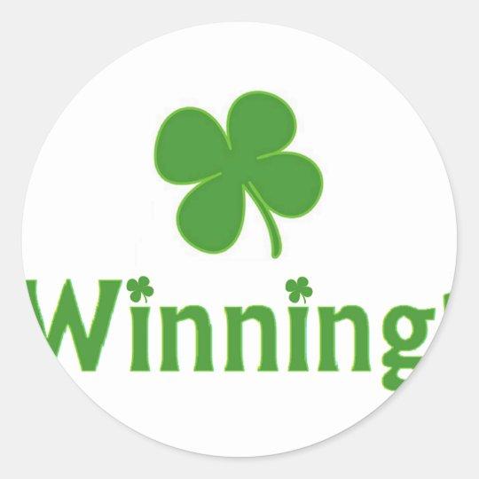 Winning Charlie Sheen St. Patrick's Day Classic Round Sticker