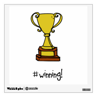 #winning! gold trophy wall decal