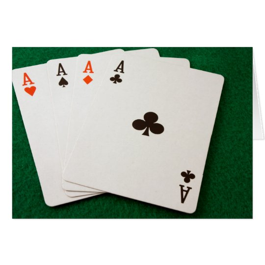 Winning Hand Four Aces Card