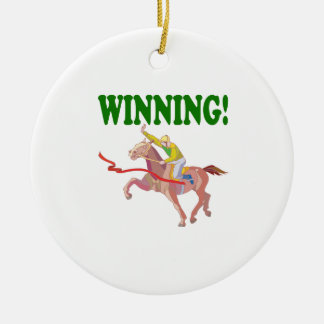 Winning Double-Sided Ceramic Round Christmas Ornament