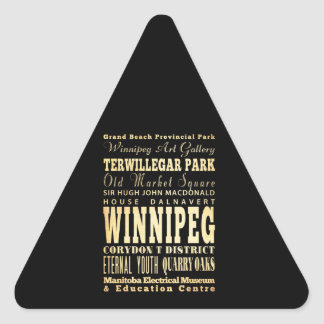 Winnipeg City of Canada Typography Art Triangle Sticker