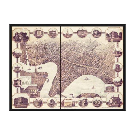 Winnipeg Manitoba Canada Bird's Eye View Map 1884 Stretched Canvas Prints