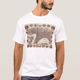 Winnipeg Manitoba Canada Bird's Eye View Map 1884 T-Shirt