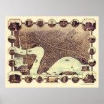 Winnipeg, MB, mapa panorámico de Canadá - 1884 Posters