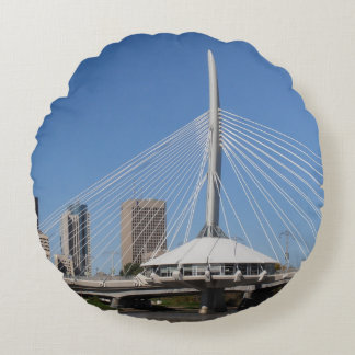 Winnipeg Provencher Bridge Round Pillow