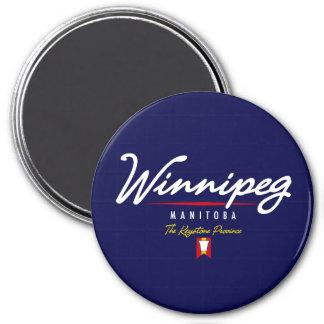 Winnipeg Script 3 Inch Round Magnet