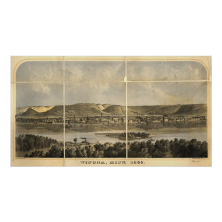 Winona County Minn. 1867 Antique Panoramic Map Print
