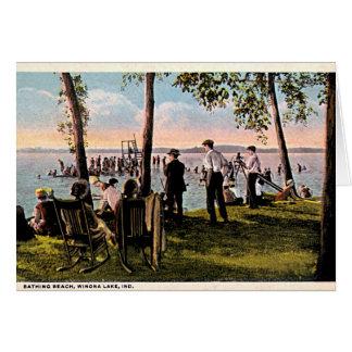 Winona Lake, Indiana Bathing Beach Card