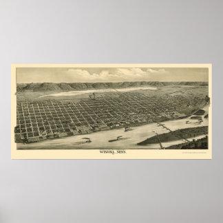Winona, mapa panorámico del manganeso - 1889 póster