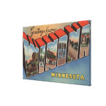 Winona, Minnesota - Large Letter Scenes Stretched Canvas Prints