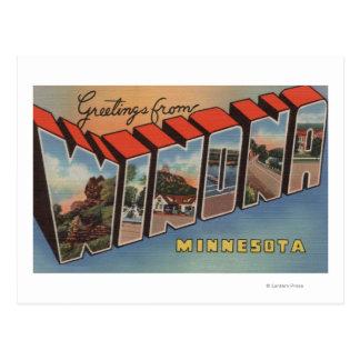 Winona Minnesota - Large Letter Scenes Postcard